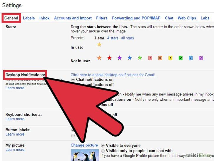 Bước 4 bật thông báo Gmail trên màn hình máy tính