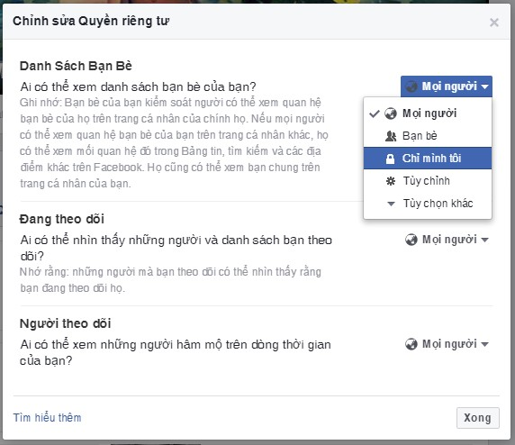ẩn danh sách bạn bè trên Facebook 3