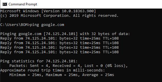 kiểm tra internet với lệnh Ping