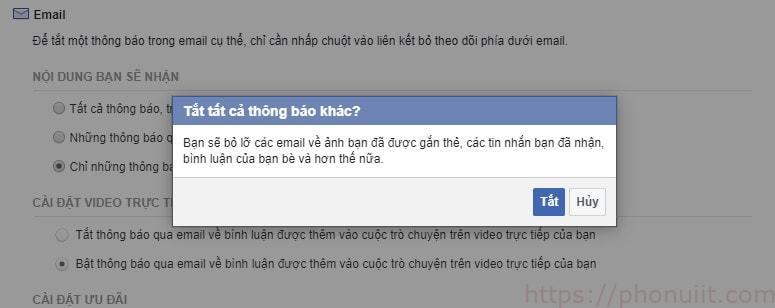 Cách tắt nhận email thông báo facebook